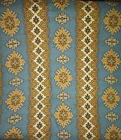 ancien tissu french textile imprimé kilim oriental bleu beige XIXe 56x80cm