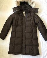 LL Bean Brown Hooded Goose Down  Coat Jacket  3/4  Length Women's Size S.