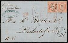 1865 - FRANCIA LETTERA PER FILADELFIA (USA) CON NAPOLEONE 40C. COPPIA DA COGNAC