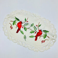 """Christmas Cardinals on Holly Oval Lace Placemat 11""""x17"""""""