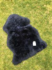 Genuine Real Navy BLUE Sheepskin Rug Lambskin Medical Rug Plush