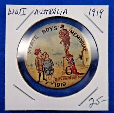 Original Vintage Wwi Ww1 Australia State Boys Memorial 1919 Pin Pinback Button
