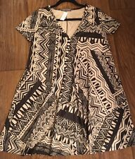 Cherish Black & Tan Faux Suede Mix Print Dress With Pockets NWT Size Small