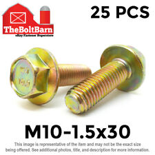 25PCS M10-1.5x30 MM Metric Hex Flange Bolts Grade 10.9 Screws Zinc Yellow