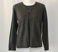 NEW Sag Harbor Petite womens sweater GRAY beaded detail 3/4 sleeve NEW SZ M