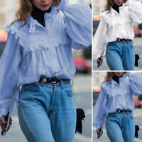 Womens Puff Sleeve Holiday Casual Formal Tops Party Solid Shirt Loose Blouse Tee