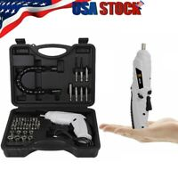 47Pcs Rechargeable Cordless Electric Screwdriver Tool Bit Kit + Lithium Battery