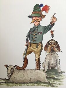 """FUNNY EUROPEAN HUNTSMAN WITH DOG Mounted Print 10x8"""" Art Picture Humour 69"""