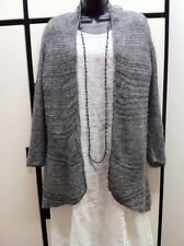 Eileen Fisher PL ASH Floating Alpaca Net Cascading OPEN FRONT Cardigan