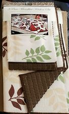 3 pc Kitchen Microfiber Set: Drying Mat and 2 Towels Set (16x19) LEAVES,brown,BH