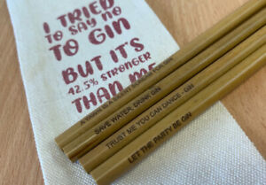 6 in 1 Gin Bamboo Drinking Straws Set   Gin Inscribed Straws With Hessian Pouch