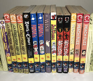 Mixed Lot of 14 Manga Books EX-LIBRARY Hellsing Rama 1/2 Cardcaptor Peach Fuzz