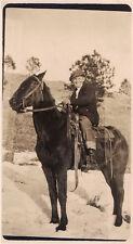 Cowboy On Black Horse Real Photo Postcard