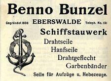 Benno Bunzel Eberswalde treillis u. cordes historique la publicité de 1908