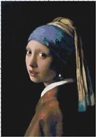Girl with the Pearl Earring Handmade DIGITAL Counted Cross-Stitch Pattern Chart
