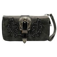 Western Black Buckle Belt Wristlet Wallet Women Punk Leather Purse Clutch