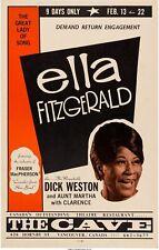 Ella Fizgerald - Concert VINTAGE BAND POSTERS Song Rock Travel Old Advert #ob