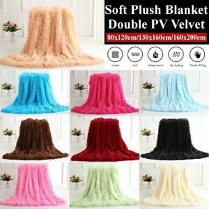 Long Pile Warm Plush Blanket Comfortable Soft Faux Fur Bed Shaggy Reversible AU