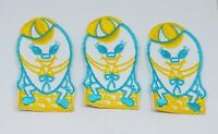 """Lot of 3 Vintage Humpty Dumpty Yellow & Blue Embroidered Sew On Patches ~ 3 3/8"""""""