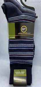 GoldToe Men's Casual Crew Socks Cotton Blend Blue Navy Solid/Stripes 3 Pack New