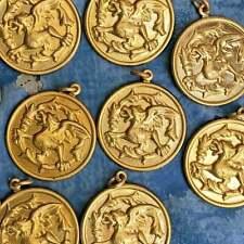 50 Pc lot! Gold Brass Griffon Pendant brass Stamping Bulk Bundle Diy jewelry