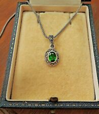 Sterling Silver Vintage Style Oval Emerald Marcasite Pendant Necklace