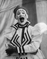 Photo Print 8x12 Sparks Circus Clown Dancing w// Woman .. Vintage Photo..