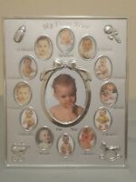 My First Year Baby Photo Frame, Silver Tone 12 Small and 1 Large Window