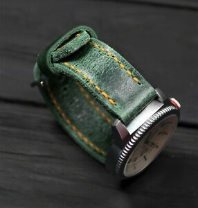Green Leather Watch Strap Soft Thick English Distressed Handmade band 20 22 26mm
