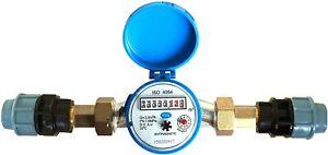 """Wasserzähler Flow - kaltem Wasser 3/4"""" MDPE/PE für 25 mm BSP 2,5 m3/h"""