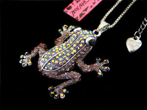 Betsey Johnson Charming Brown Crystal Lovely Frog Pendant Long Chain Necklace