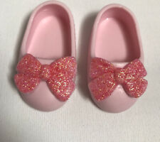 """Glitter Girls 14"""" Doll  Shoes-Pink Bow Slippers-Fits DesignaFriend Sister Doll"""