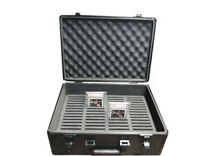 Aluminum Graded Card Case Storage for 64 PSA Sport Slabs Protector w/Lock