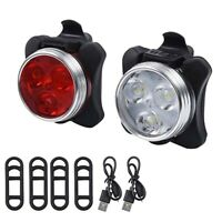 2PC Cycling Bicycle Bike 3 LED Head Front With USB Rechargeable Tail Clip Light