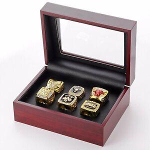 Michael Jordan NBA Chicago Bulls 6 Championship Ring Set with Wooden Display Box