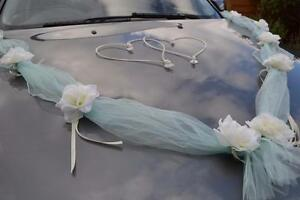 wedding car decoration, ribbon, bows, prom limo decoration ,mint garland, lime g