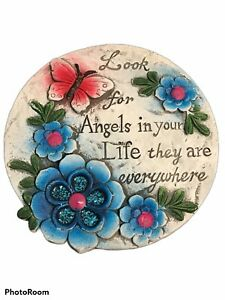 """Garden Stone 6"""" Diameter Colorful Flowers Butterfly Look For Angels In Your Life"""