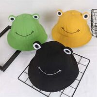 Summer Cotton Cute Frog Bucket Hat Men Women Outdoor Foldable Fisherman Hat
