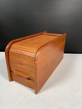 Teak-Tech Wooden Storage File Box With Sliding Cover 11.5 x 5 x 6