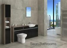 DRIFTWOOD / BLACK GLOSS BATHROOM FITTED FURNITURE WITH TALL UNIT 2300MM