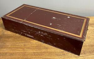Large Vintage Antiuqe Handpainted Safe Safety Deposit Box Dark Red