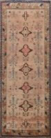 Antique Vegetable Dye Geometric Sultanabad Runner Rug Hand-knotted Oriental 4x9