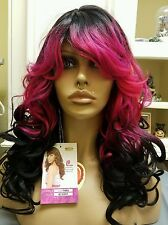 hot pink and black ombe wig VANESSA FIFTH AVENUE SUPER TIMBA LONG CURL emo punk