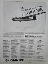 12/1977 PUB OMNIPOL PLANEUR L-13 BLANIK PRAHA VOL A VOILE SOARING ORIGINAL AD