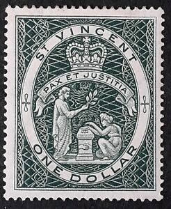 1955 St Vincent $1 green Coat of Arms stamp Mint