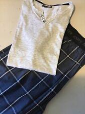 Men's SIZE L Short  Pyjamas With Grandad Style T Shirt BNWOT