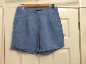 Ladies M&S Blue Linen Shorts UK12 Vgc (g) Summer