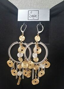 Sequin  Gold & SILVER Plated LONG LEVER BACK Chandelier Earrings