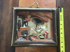 Vintage German Wax Picture Wall Hanging Hand Carved and Painted