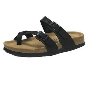 New Women's LEATHER INSOLE Buckle Double Strap Ring Toe Slide Footbed Sandal